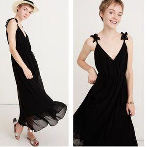 Madewell Ruffle Strap Faux Wrap Black Chiffon Maxi Dress NWT